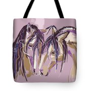 horses Purple pair Tote Bag