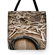 Horseshoe On Barn Floor Tote Bag