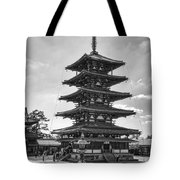 Horyu-ji Temple Pagoda B W - Nara Japan Tote Bag by Daniel Hagerman