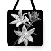 Hosta Flowers In Black And White Tote Bag