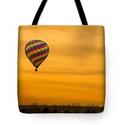 Hot Air Balloon In The Golden Sky Tote Bag