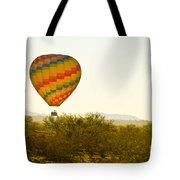 Hot Air Balloon In The Lush Arizona Desert With Saguaro Cactus Tote Bag