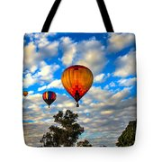 Hot Air Balloons Over Trees Tote Bag