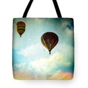 Hot Air Baloons In Blazing Sky Tote Bag