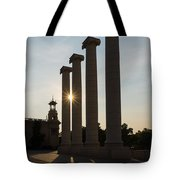 Hot Barcelona Afternoon - Magnificent Columns And Brilliant Sun Flares Tote Bag