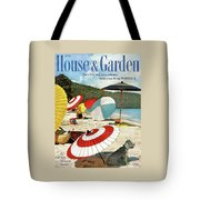 House And Garden Featuring Umbrellas On A Beach Tote Bag
