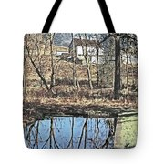 House And The Reflecting Pool Tote Bag