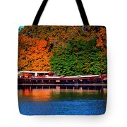 House Boat River Barge In France Tote Bag