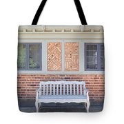 House Brick Exterior With Wood Bench Tote Bag