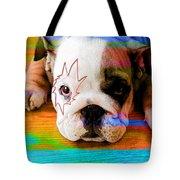House Broken Bulldog Puppy Tote Bag