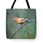House Finch With Verse Tote Bag