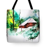 House In Greens 1 Tote Bag