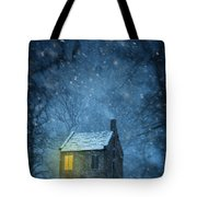 House In Woodland In Winter Tote Bag