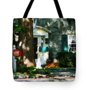 House With Turquoise Shutters Tote Bag