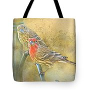 Housefinch Pair With Texture Tote Bag