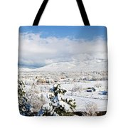 Houses And Trees Covered With Snow Tote Bag
