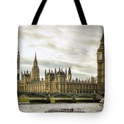 Houses Of Parliament On The Thames Tote Bag