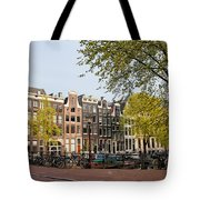 Houses On Singel Canal In Amsterdam Tote Bag