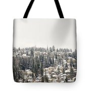 Houses On The Mountain In Winter Tote Bag