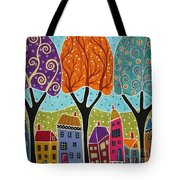Houses Trees Folk Art Abstract  Tote Bag