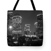 Houston Skyline At Night Black And White Bw Tote Bag