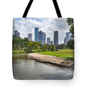 Houston Skyline On The Bayou Tote Bag