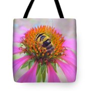 Hover Fly On Purple Coneflower Tote Bag
