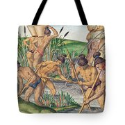 How The Indians Collect Gold From The Streams Tote Bag