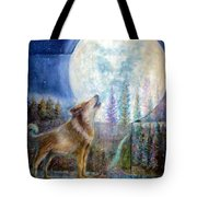 Wolf Howling And Full Moon Tote Bag