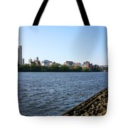 Hudson River And Albany Skyline Tote Bag