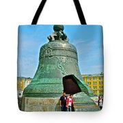 Huge Bell That Cracked In A Pit Inside Kremlin Walls In Moscow-r Tote Bag