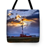 Sunset Over The Oil Rigs Tote Bag