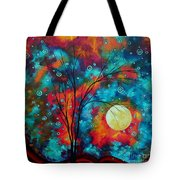 Huge Colorful Abstract Landscape Art Circles Tree Original Painting Delightful By Madart Tote Bag