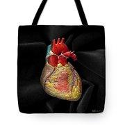 Human Heart On Black Velvet Tote Bag