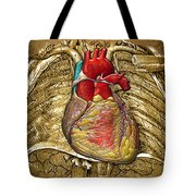 Human Heart Over Vintage Chart Of An Open Chest Cavity Tote Bag