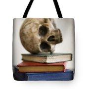 Human Skull And Books Tote Bag