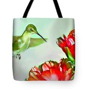 Humming Bird And Cactus Flowers Tote Bag
