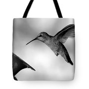 Hummingbird In Black And White Tote Bag