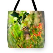 Hummingbird In The Daylilies Tote Bag