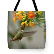 Hummingbird Sips Nectar Tote Bag by Heiko Koehrer-Wagner