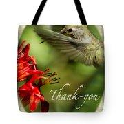 Hummingbird Thanks Tote Bag