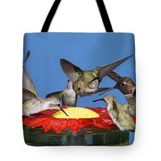 Hummingbirds At Feeder Tote Bag