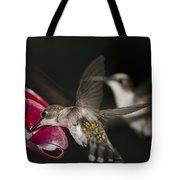 Hummingbirds In Flight Tote Bag by Nelson Watkins