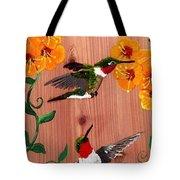 Hummingbirds On Cedar Tote Bag
