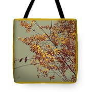 Hummingbirds On Yellow Tree Tote Bag