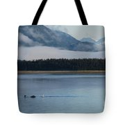 Humpback Whales And Alaskan Scenery Tote Bag by Camilla Brattemark