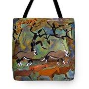 Hunters And Gemsbok Rock Art Tote Bag