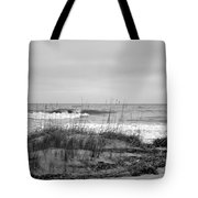 Hunting Island Beach In Black And White Tote Bag