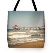 Huntington Beach Pier Retro Toned Photo Tote Bag by Paul Velgos