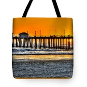 Huntington Beach Sunset Tote Bag by Jim Carrell